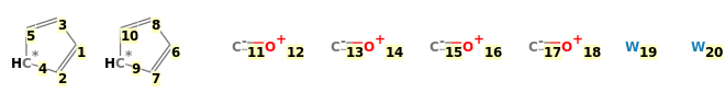 Image with canonical numbers derived from InChI string